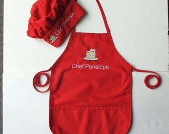 Kid's Apron AND Chef Hat - Childs Art Apron and Hat - Childrens Personalized Craft Apron and Chef Hat - Slice of Cake
