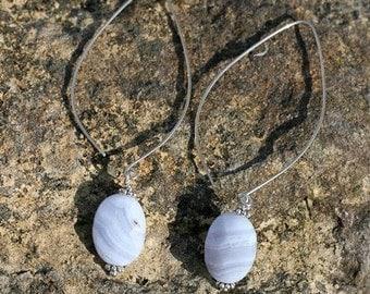 Swinging Blue Lace Agate Earrings