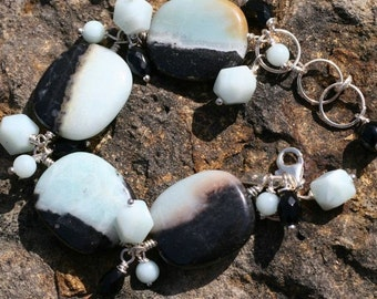 Special Sale Price with Necklace One of a Kind, Chunky Amazonite and Black Onyx, Sterling ChaCha Bracelet