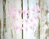 HAPPY BIRTHDAY Personalized Hand Stamped Cake Topper Garland, mini paper bunting - custom colors available