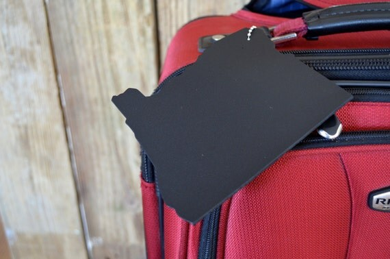 Oregon Silhouette Luggage Tag - choose from black or brown