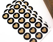 "Shop Exclusive - little kraft hearts with black background - 3/4"" heart stickers - packaging & stationery"