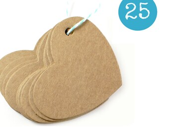 Heart shaped 2.5 x 2 kraft gift tags - 25 KRAFT BROWN cardstock parcel tags, hang tags - gift wrapping, wedding favors, packaging