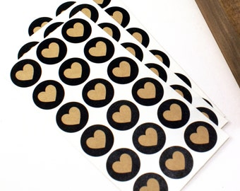 "Shop Exclusive - kraft hearts with black background - 1"" round heart stickers - packaging & stationery"