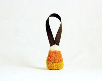 Ready to Ship! 3D Candy Corn Halloween Tree Ornament. Punchneedle. Food Art. Yellow, Orange. Christmas Ornament.