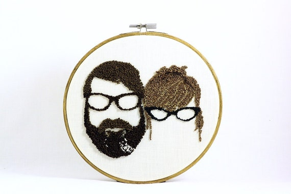 Custom Couple Silhouette Embroidery Hoop Art. Custom Couple Portrait. Cotton Anniversary gift for Him and Her, Her and Her, or Him and Him.