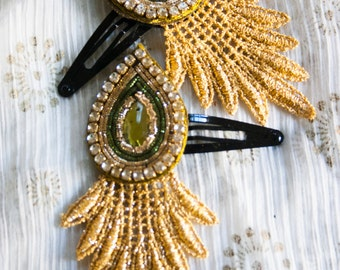 Harit - 1 Bollywood Applique and Venetian Lace HAIR CLIP by jhumki designs by raindrops
