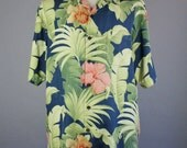 SALE - Vintage Tommy Bahama Silk Tropical Island Style Floral Shirt - Mens Size Large
