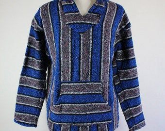 SALE - Vintage Baja Hoodie Blue Gray Stripe Pullover Festival Hippie Jacket - Mens Size Large