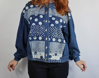 80s Denim Jacket, Womens Chambray Denim Polka Dots Studded Jacket // Modern Art Jacket, Size Large, FREE SHIPPING
