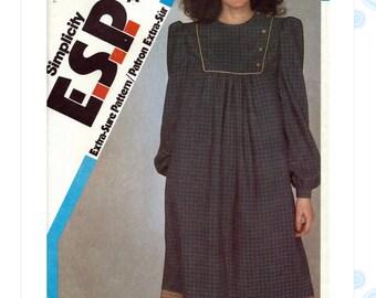 80s dress pattern - Simplicity 6072 - vintage asymmetrical dress pattern - gathered bib - size 10-12-14 - uncut ff pattern - 32 to 36 bust