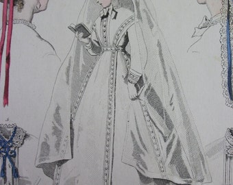 Vintage Fashion Print from Journal Des Demoiselles March 1867