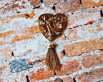 Vintage Gold Heart Pin - Tassel Pin - Ribbon Pin - Gold Flower Pin - 1990s Faux Victorian Brooch - Oversized Statement Jewelry