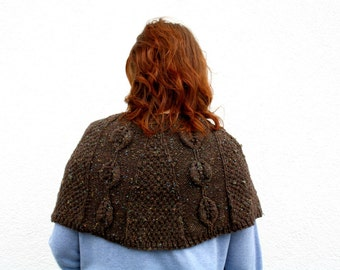 Shoulder Warmer Shrug, Hand Knitted Capelet, Brown Shrug Vest, Winter Fashion Women, Fantasy Costume Renaissance Fair Men, Autumn Brown Knit
