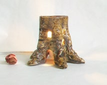 Tree Stump Fairy House - No Chimney / Night Light - Handmade on the Potters Wheel - Each One a One of a Kind - Ready to Ship