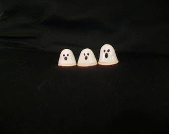 Mini Ghosts  - Ready to Ship - Actual Set - Halloween Decor, Decoration - Set of 3 Very, Very Tiny Ghosts - Handmade on the Potters Wheel