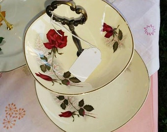 Lovely Johnson of Australia 2 Tier Cake Stand, matching Vintage plates