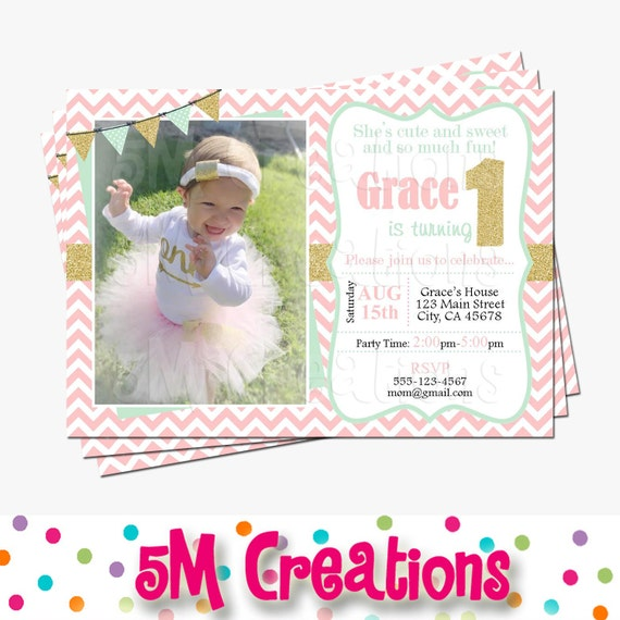 First Birthday Party In A Box In Gold Mint And Pink: Pink Mint Gold Photo Invitation