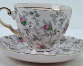 Vintage Fine Bone Porcelain China England Pink Rose Gray Grey Tuscan Chintz Numbered Teacup Tea Cup and Saucer ATCTTEAM TNTEAM