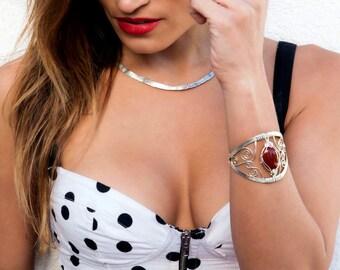 Red Carnelian Bracelet, Cuff Bracelet, Boho Bracelet, Silver Plated Cuff Bracelet, Wire Wrap Bracelet, Cuff Bangle, Large Bracelet
