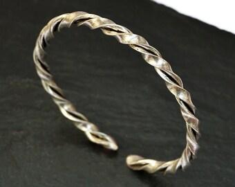 Silver Mens Bracelet, Mens Silver Bracelet, Mens Bracelet, Mens Cuff Bracelet, Silver Plated Bracelet, Silver Bangle, Open Bangle