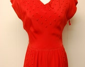 1940s/1950s Vibrant Drop-Waist Red Dress with Pockets