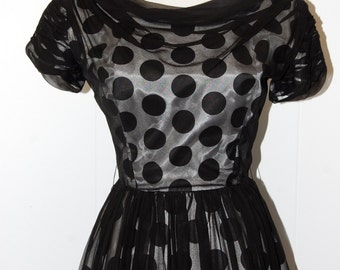 1950s Rockabilly Black and White Polka Dot Party Cocktail Dress