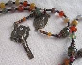 RESERVED - St. Kateri Agate & Garnet Strung Rosary