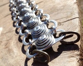 Chunky Bracelet, Recycled and Eco-Friendly, Quality Riveted Metal Bracelet, Aluminium and Stainless Steel, with Forged Steel Clasps, Unique