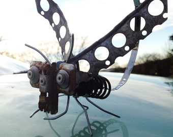Scrap Metal Bug Sculpture, Colour Photograh, Art Card, Printed Postcard of a Nozbug outside in the Landscape, Hues of Blue