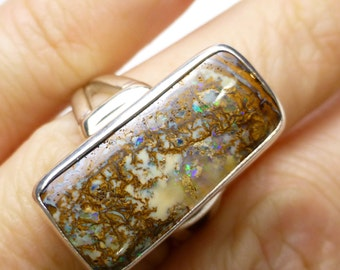 Boulder Opal Ring Size 7.5 Sterling Silver Australian Australia One of a Kind Handmade Lisajoy Sachs Design October Birthstone Birthday