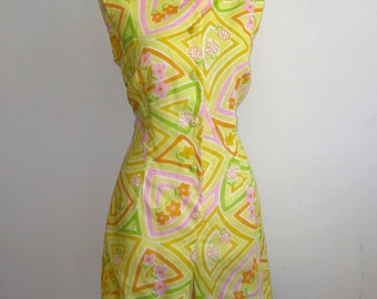 Vintage 60s Summer Yellow Mod Floral Romper & Wrap Skirt Set