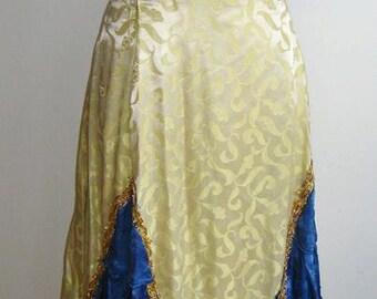Vintage 50s Satin Brocade Formal Princess Saloon Girl Dress Costume