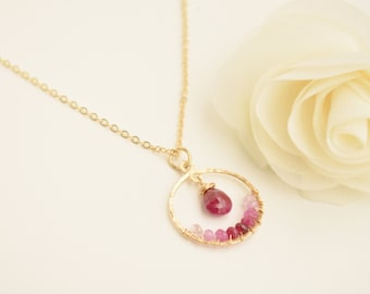 Ruby & Gold Birthstone Necklace - July