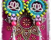 Happy LOTUS earrings Bikini Summer Fun Beaded Macrame jewelry Teal Gypsy Coachella jewelry Yoga festival Dangle earrings Colorful GPyoga