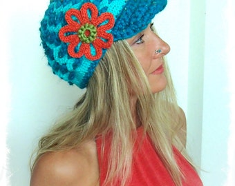 Blue Turquoise SLOUCHY beanie Hat crochet Slouch hat Visor hat Hippie FLOWER beanie womens beanie hats Boho Beanie with brim GPyoga hats