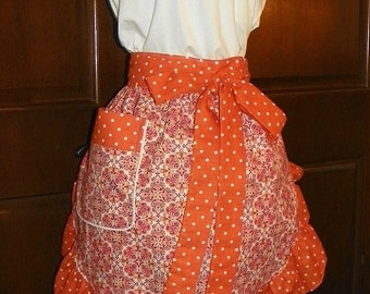 Fun, Flirty, Sassy Hostess Waist Apron 22 In Orange Medallions by Nanasaprons Handmade for Fun Cooking Baking