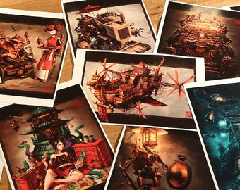 Set of Fifteen Chinese Steampunk Prints by James Ng