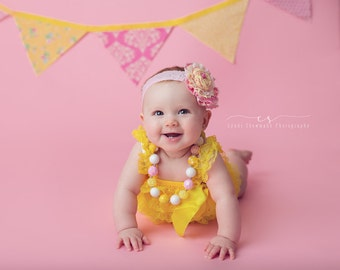 Vintage Pink Lemonade- pink and yellow ruffle, rosette and lace headband