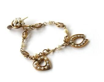 Vintage Gold Filled Charm Bracelet With Cultured Pearls c.1950s