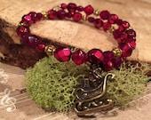 Christmas Bracelet for Kids and Teens with Santa's Sleigh Charm