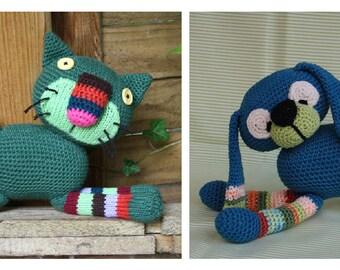 2 Pattern! Amigurumi CRAZY DOG and CAT - pdf, crochet pattern