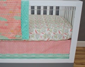 Coral, Mint, Salmon, Gold and Peach Crib Bedding, Baby Bedding, Feather, Tribal, Triangles,Dream Catcher, Gold Glitter Baby Girl Nursery