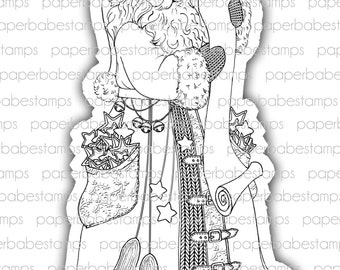 Santa's List - Paperbabe Stamps - Digital Stamps - Vintage Santa for paper crafting and scrapbooking.