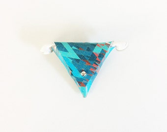Earbud Holder / Earphone Case / Blues Triangle Pouch Various Sizes / Multi Colors / Geometric Design / Coin Purse / Ear Plug Triangle Case