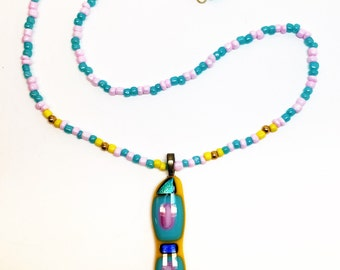 Summer Fun Fused Glass Long Dichroic Pendant with Beaded Necklace