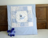 patchwork baby quilt with applique dog,blue bed quilt,baby crib quilt,padded baby cover,decorative cot quilt,bed decor,HANDMADE BY FRALINE