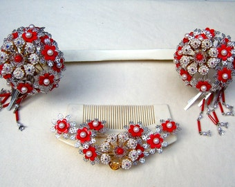 Vintage Japanese geisha comb hairpin wedding set headpiece headdress hair jewelry hair pick hair pin hair fork (AAG)