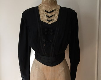 Victorian Black Blouse . Antique Lace High Collar . Gothic Mourning . XS