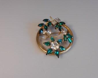 Emerald Petals For a Pretty Lady - Vintage 1950s Bal-Ron Emerald & Clear Rhinestone Floral Circle GF Brooch